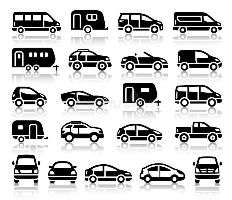 Sistema de iconos del negro del transporte ilustración del vector