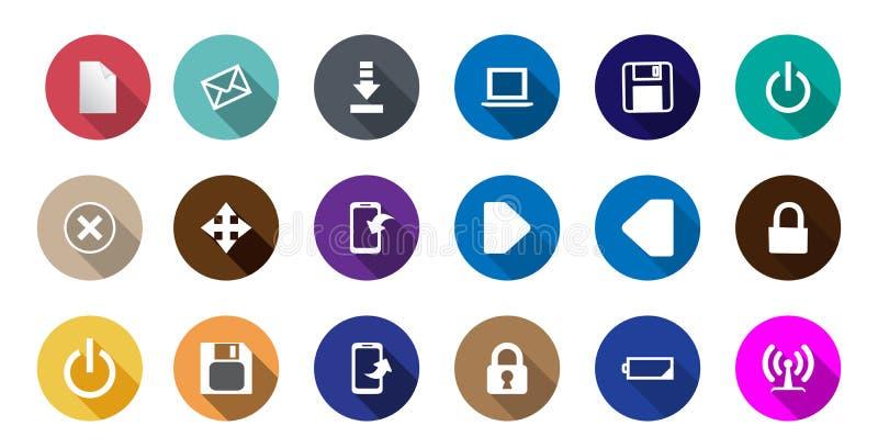 Sistema de iconos del ordenador en un diseño plano libre illustration