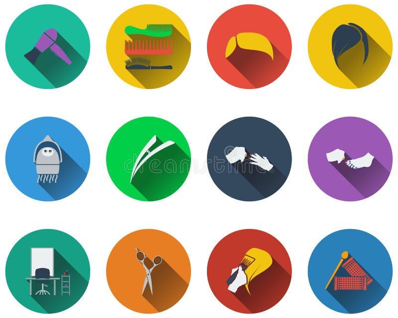 Sistema de iconos del peluquero stock de ilustración