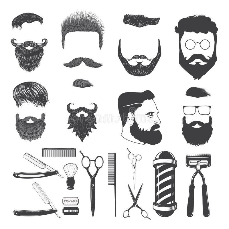 Sistema de iconos del peluquero del vintage y de elementos monocromáticos del diseño ilustración del vector
