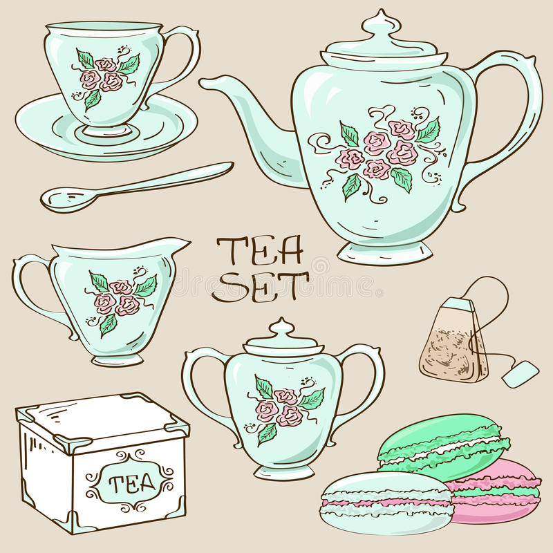 Sistema de iconos del servicio de té stock de ilustración