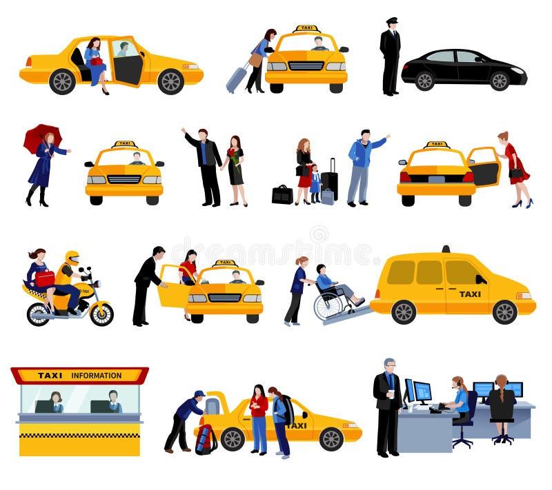 Sistema de iconos del servicio del taxi stock de ilustración