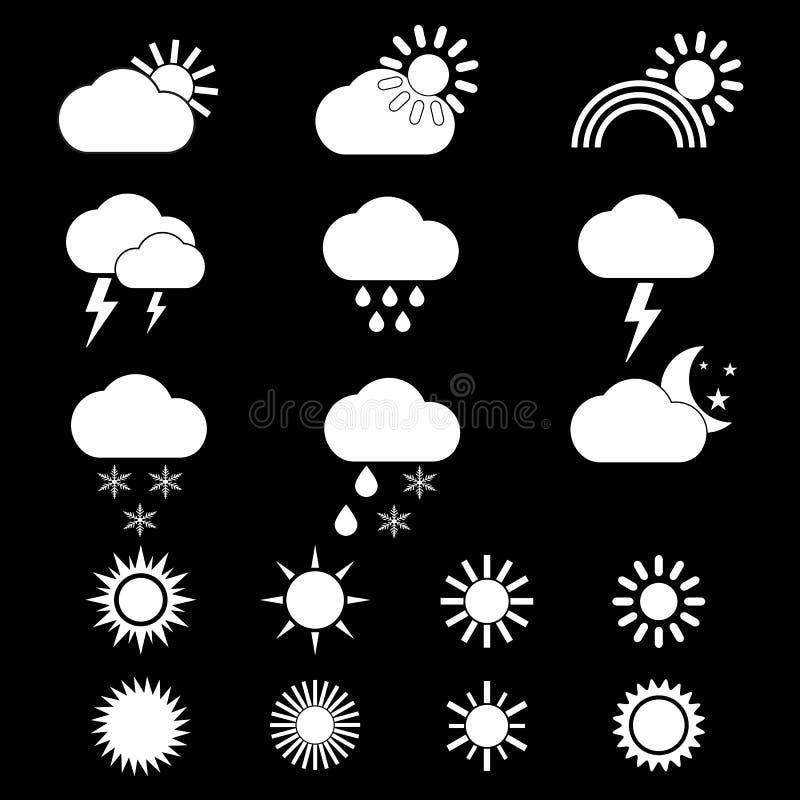 Sistema de iconos del tiempo en fondo negro stock de ilustración