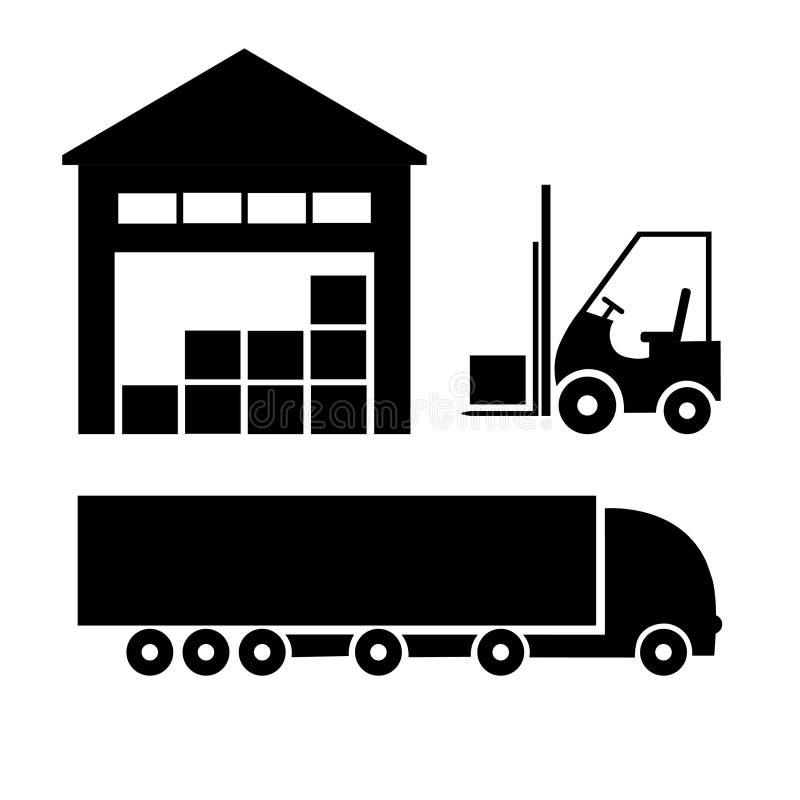 Sistema de iconos del transporte, logísticos y del almacenamiento libre illustration