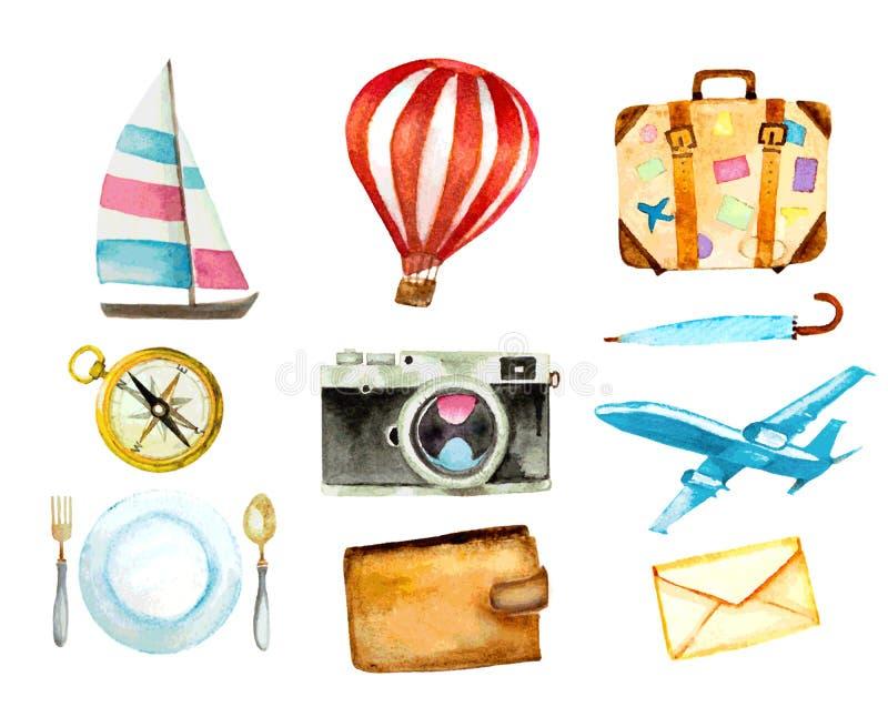Sistema de iconos del turismo ejemplo dibujado mano del vector de la acuarela stock de ilustración
