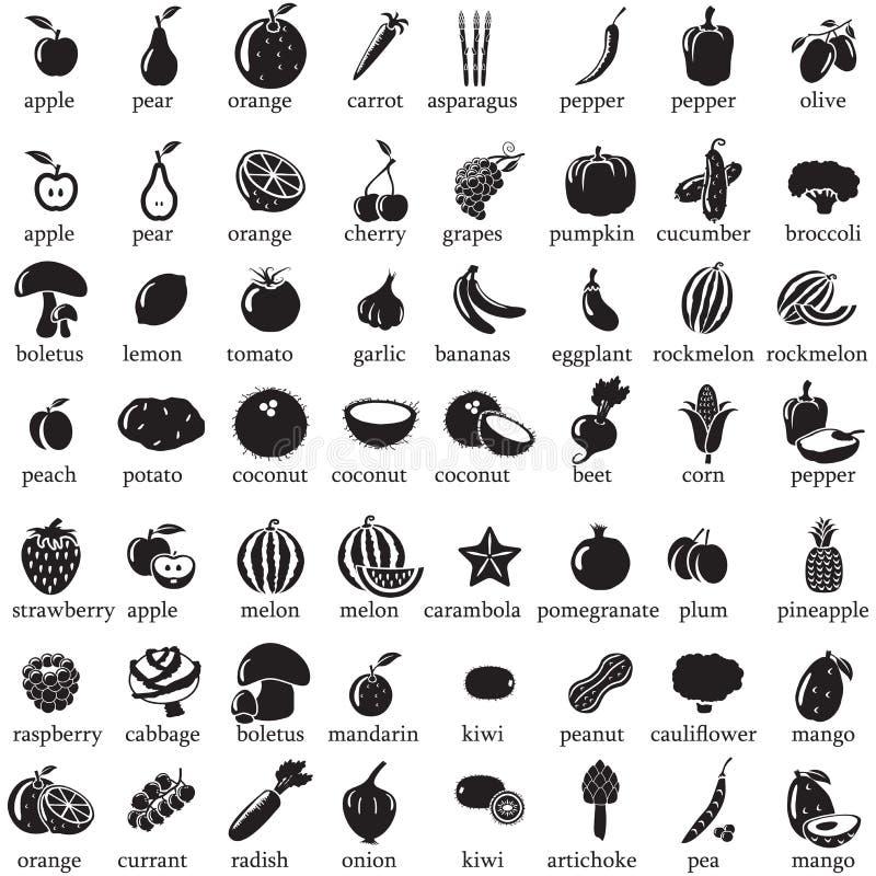 Sistema de iconos de las frutas y verduras ilustración del vector