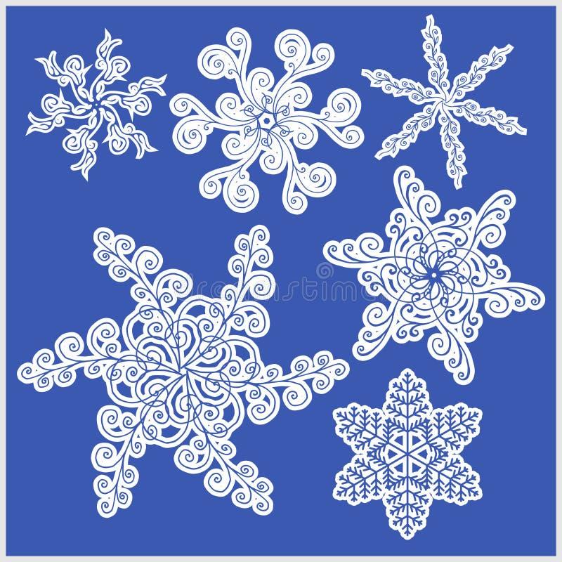Sistema de iconos del vector de los copos de nieve ilustración del vector