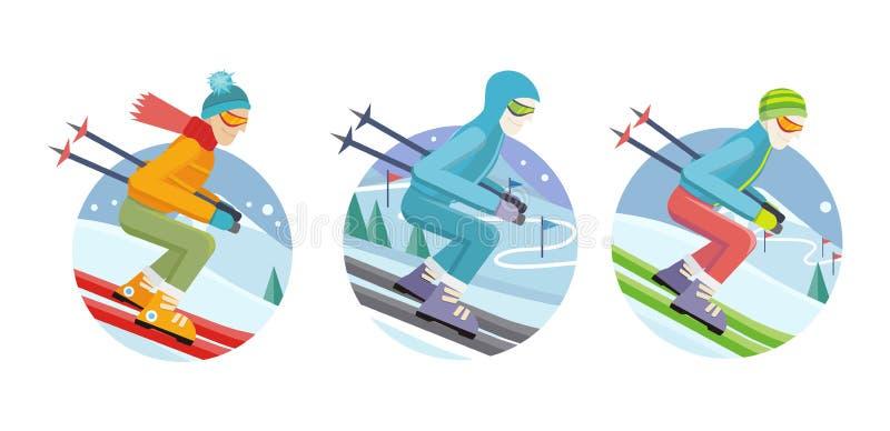 Sistema de iconos del vector del hombre del esquiador en diseño plano ilustración del vector