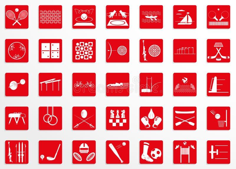 Sistema de iconos del vector en el tema del deporte ilustración del vector
