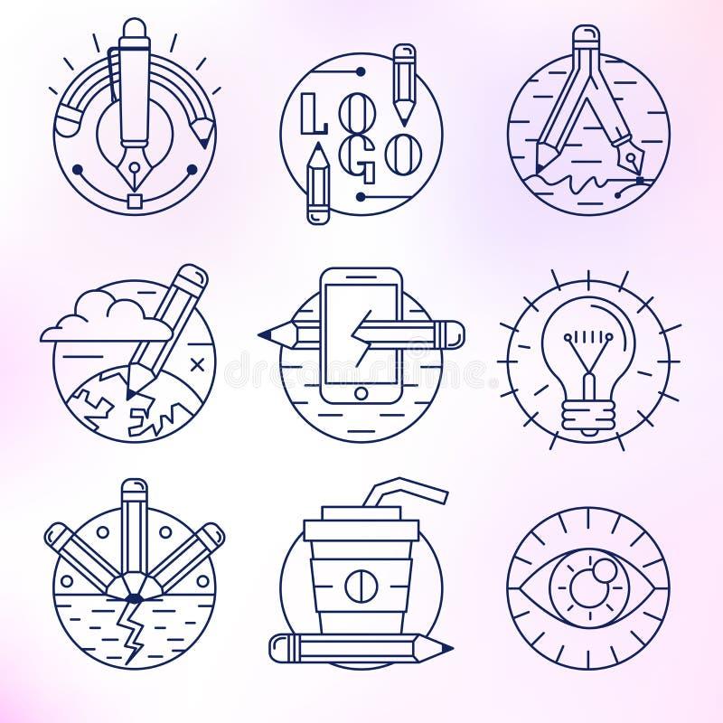 Sistema de iconos del vector en estilo linear moderno libre illustration