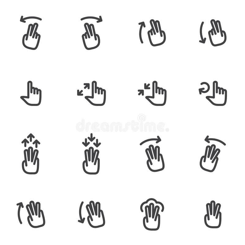 Sistema de iconos del vector, y manos de los logotipos, fingeres, gestos, pantalla táctil del movimiento stock de ilustración