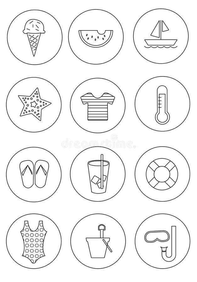 Sistema de iconos del verano con el fondo del círculo fotografía de archivo