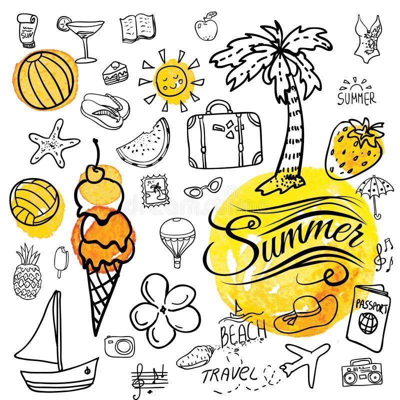 Sistema de iconos del verano del garabato del vector stock de ilustración