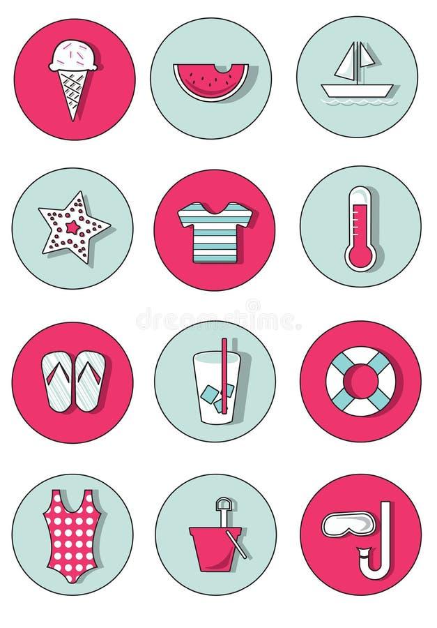 Sistema de iconos del verano en colores frescos y del estallido fotos de archivo