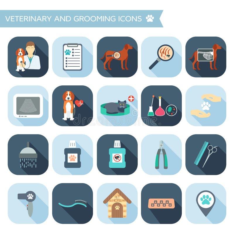 Sistema de iconos del veterinario y de la preparación con nombres Diseño plano con las sombras Vector stock de ilustración