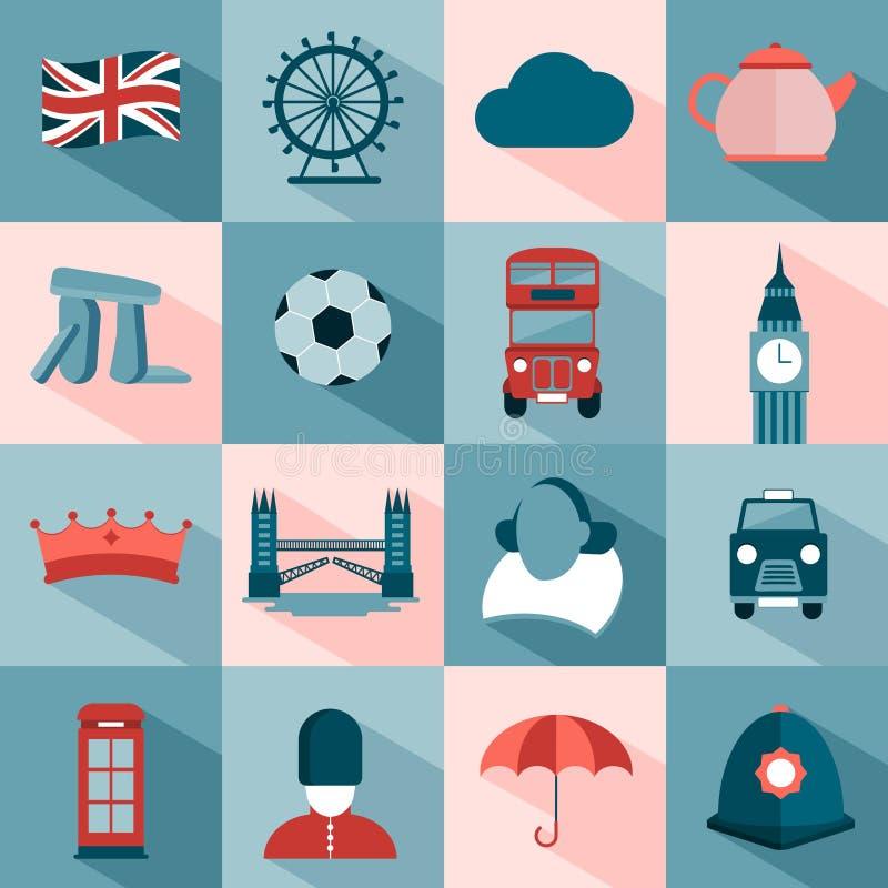 Sistema de iconos del viaje del inglés stock de ilustración