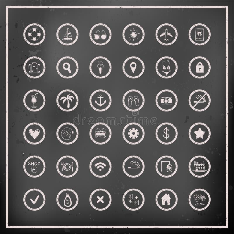 Sistema de iconos del viaje del vector del tablero de tiza ilustración del vector