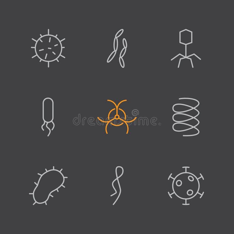 Sistema de iconos del virus y de las bacterias ilustración del vector