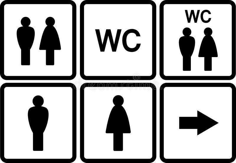 Sistema de iconos del wc ilustración del vector