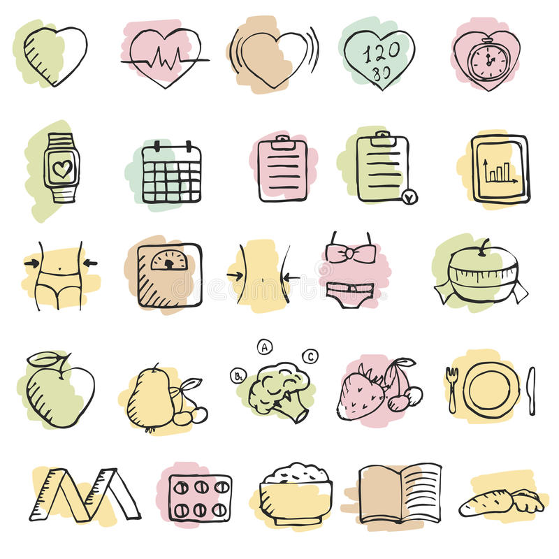 Sistema de iconos dibujados mano de la dieta fijados libre illustration
