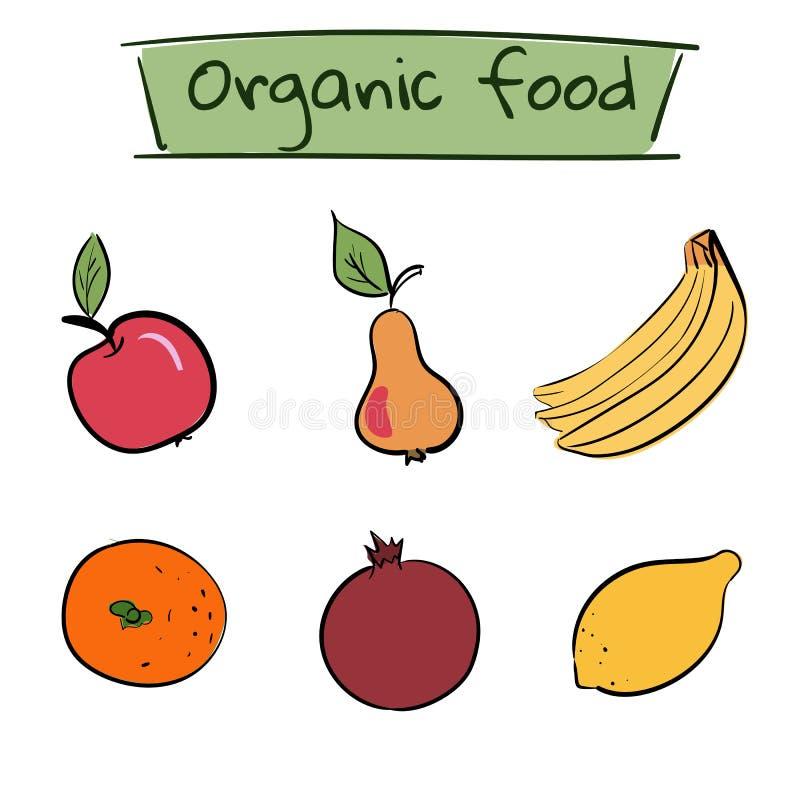 Sistema de iconos dibujados mano de la fruta Ilustración del vector libre illustration