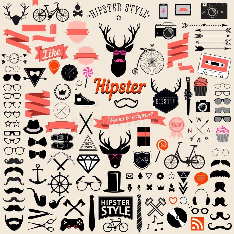 Sistema de iconos diseñados vintage del inconformista del diseño Muestras del vector y plantillas de los símbolos libre illustration