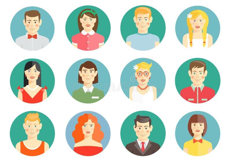 Sistema de iconos diversos del avatar de la gente ilustración del vector