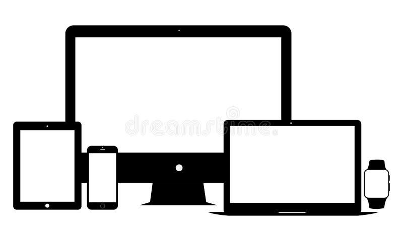Sistema de iconos electrónicos: ordenador portátil, smartphone, tableta, monitor, reloj libre illustration
