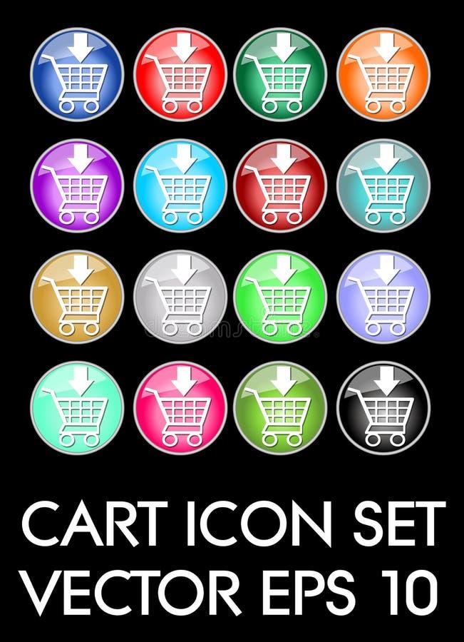 Sistema de iconos elegantes del carro, botón de cristal del círculo en diversas variantes del color stock de ilustración