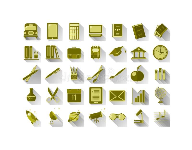 Sistema de iconos en escuela y temas científicos stock de ilustración