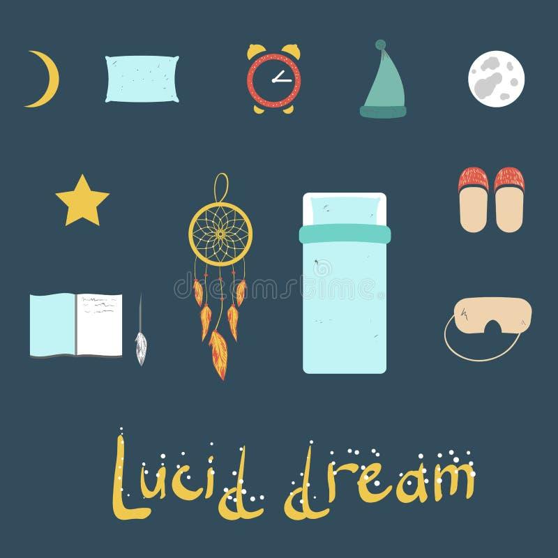 Sistema de iconos en un tema del sueño lúcido ilustración del vector