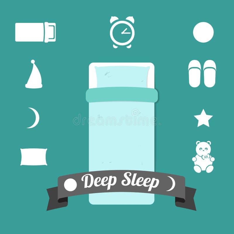 Sistema de iconos en un tema del sueño profundo ilustración del vector