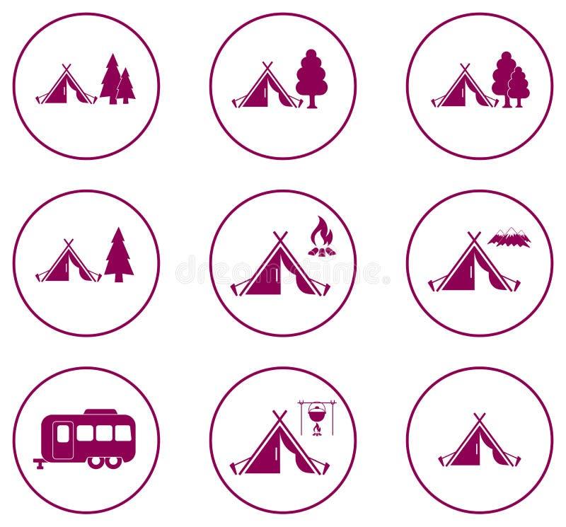 Sistema de iconos estilizados de la tienda turística libre illustration
