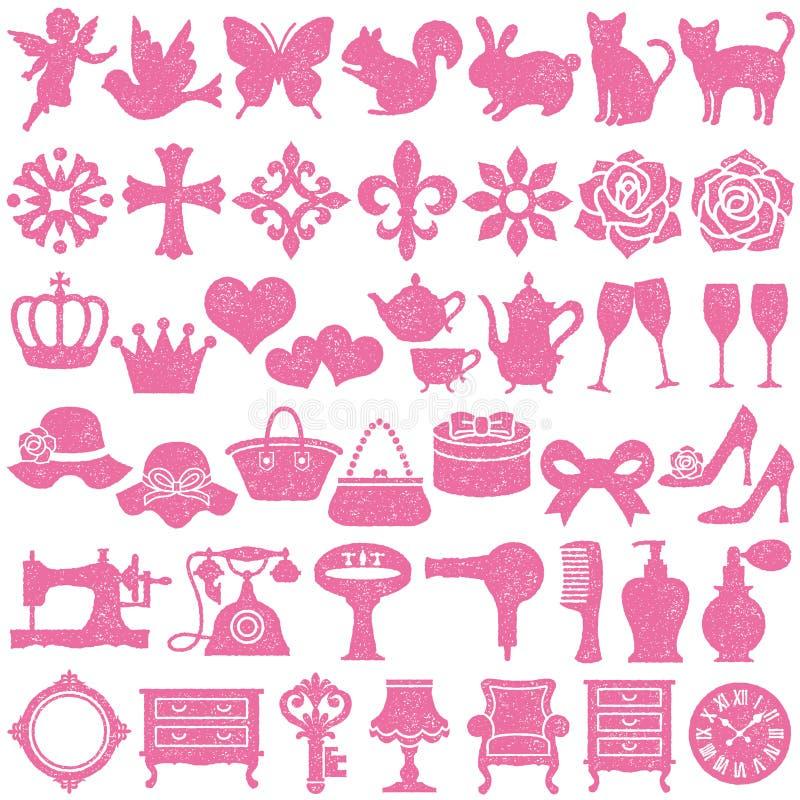 Sistema de iconos femeninos Conjunto del sello libre illustration