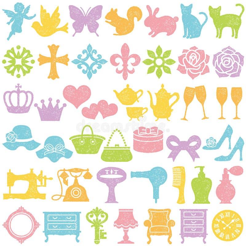 Sistema de iconos femeninos Conjunto del sello stock de ilustración