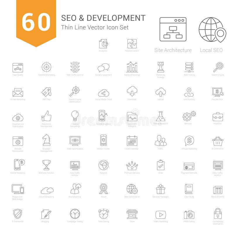 Sistema de iconos finos de la línea SEO y del desarrollo stock de ilustración