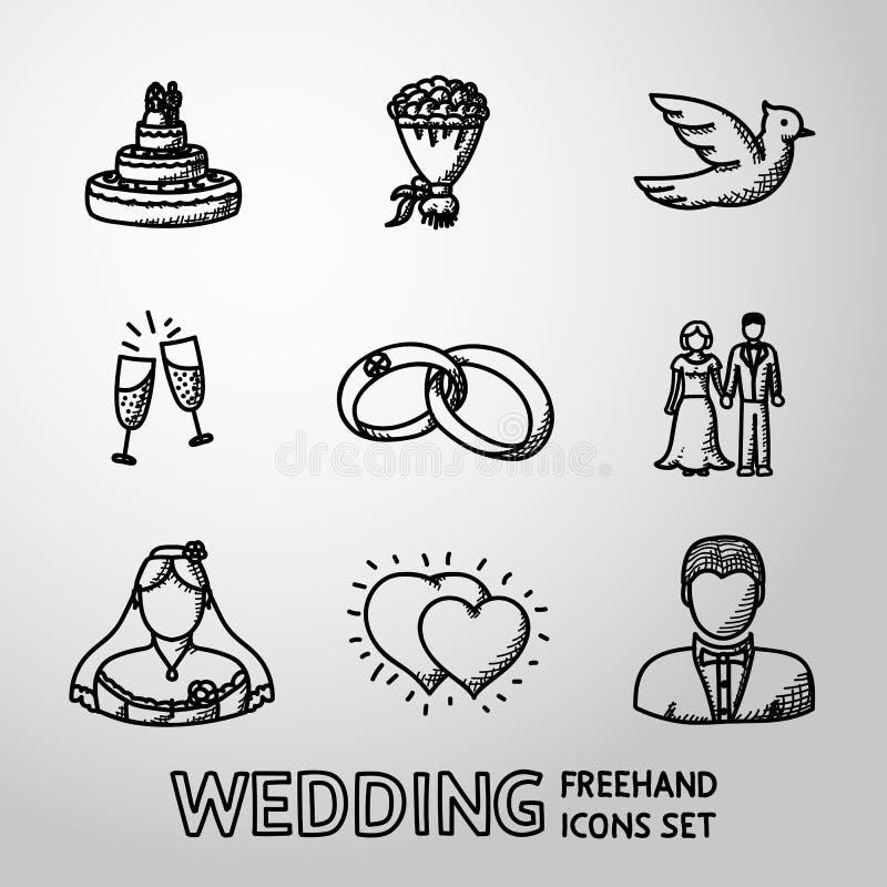 Sistema de iconos handdrawn de la boda - apelmácese, las flores libre illustration