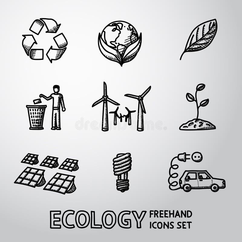 Sistema de iconos handdrawn de la ECOLOGÍA - recicle la muestra ilustración del vector