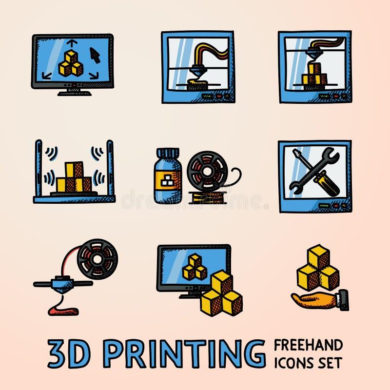 Sistema de iconos handdrawn de la impresión 3D con - las impresoras, PC app, escáner, proceso, manteniendo, plástico Vector stock de ilustración