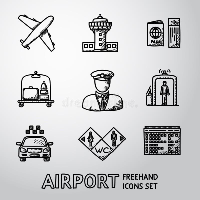 Sistema de iconos handdrawn del AEROPUERTO - aeroplano, aeropuerto ilustración del vector