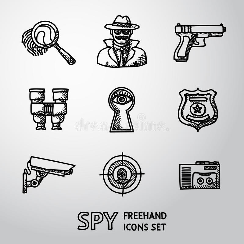 Sistema de iconos handdrawn del espía - huella dactilar, espía, arma ilustración del vector