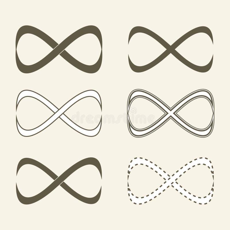 Sistema de iconos ilimitados, símbolo del infinito ilustración del vector