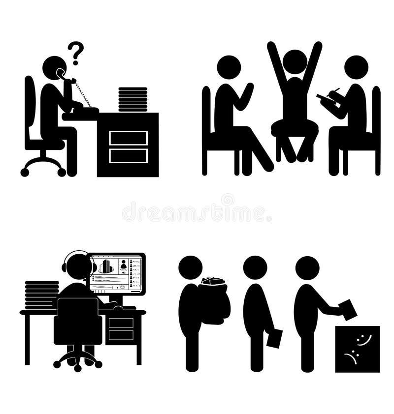 Sistema de iconos internos de las comunicaciones de la oficina plana aislados en whi stock de ilustración