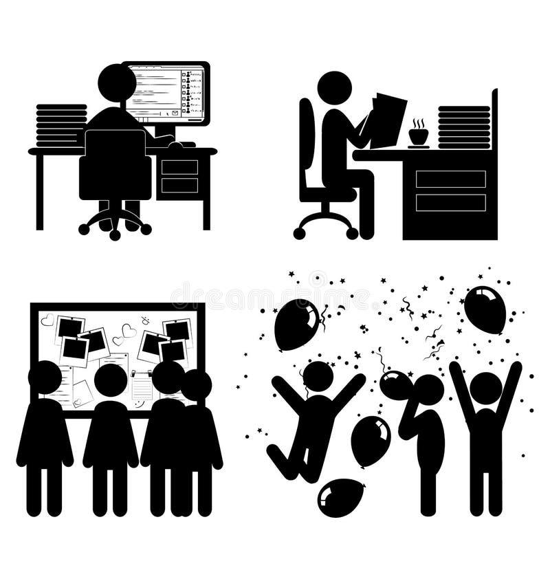 Sistema de iconos internos de las comunicaciones de la oficina plana aislados en whi libre illustration