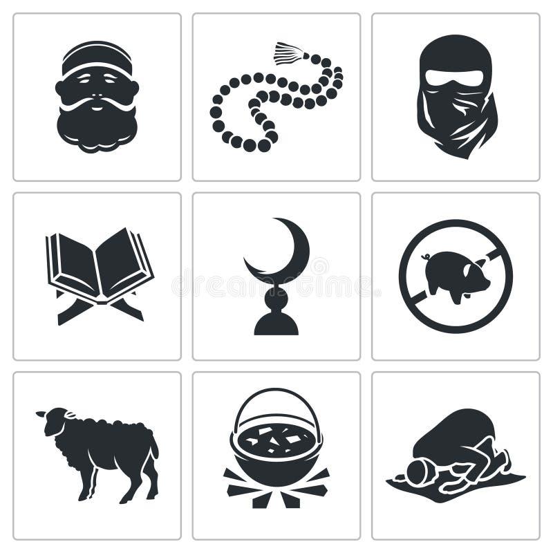 Sistema de iconos islámicos del vector libre illustration