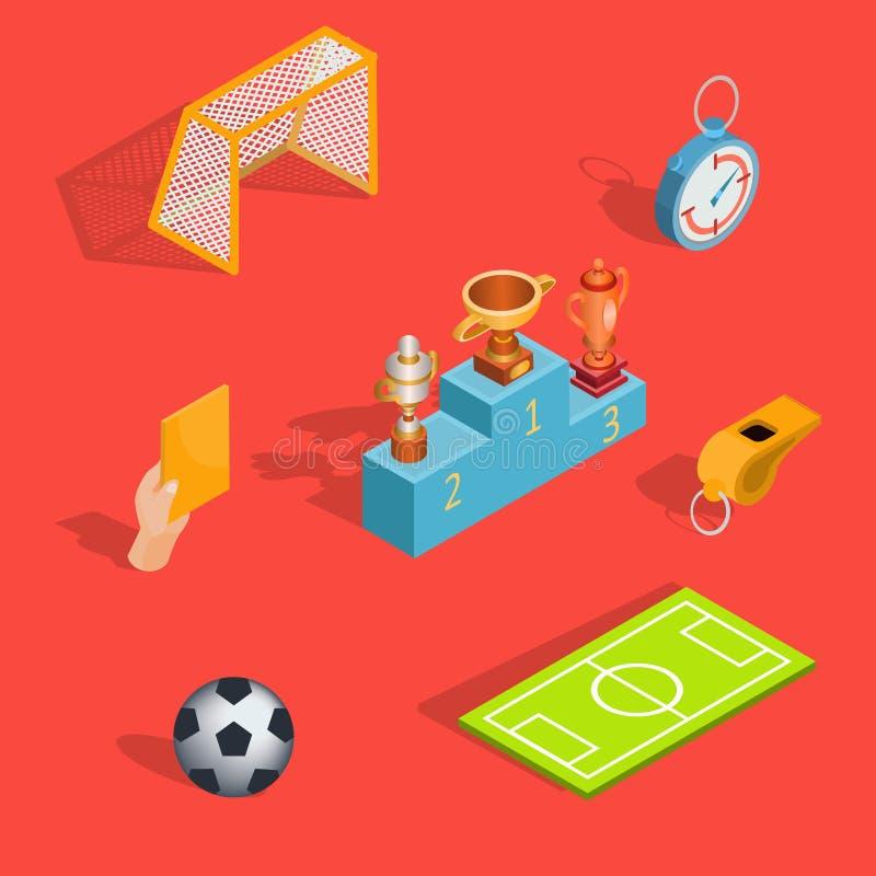 Sistema de iconos isométricos del fútbol ilustración del vector