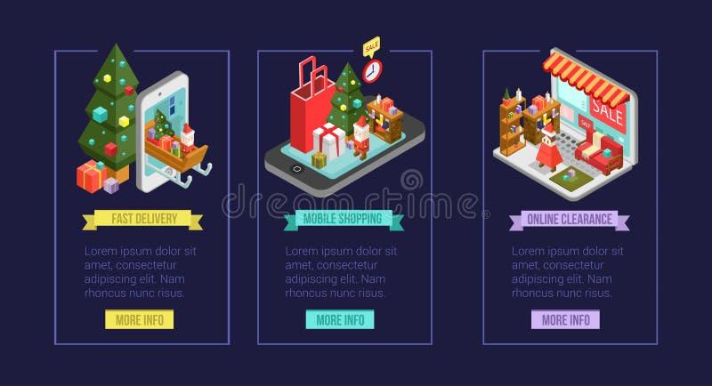 Sistema de iconos isométricos de las compras de la Navidad Compras de Internet adentro ilustración del vector