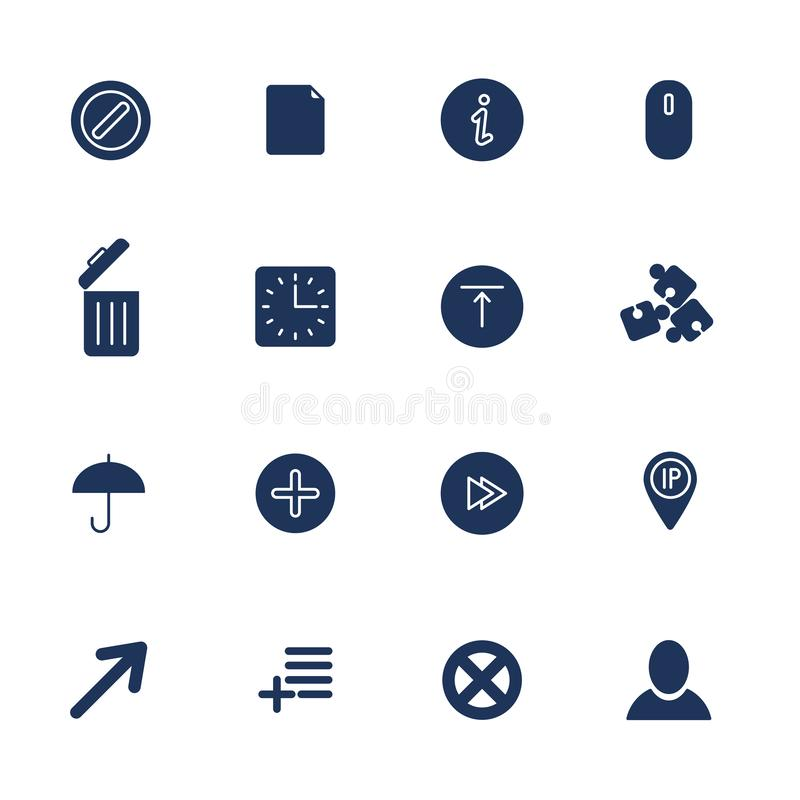 Sistema de 16 iconos de la calidad para el web y el m?vil stock de ilustración