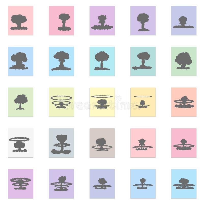 Sistema de iconos de la explosión atómica libre illustration