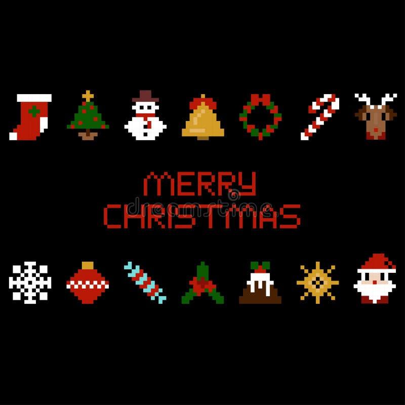 Sistema de iconos de la Navidad del arte del pixel del vector Papá Noel, estrella, caramelo, ciervo, copo de nieve en de 8 bits stock de ilustración